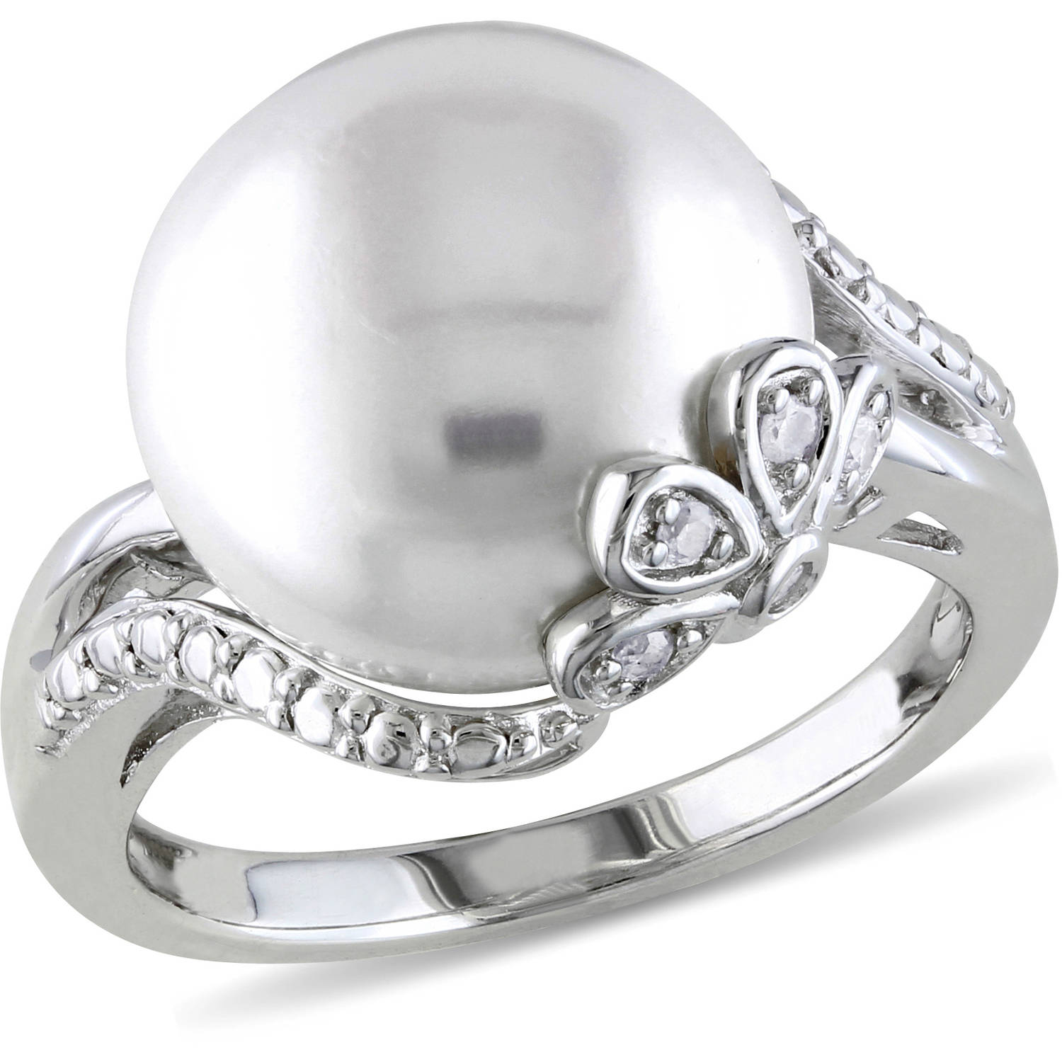 Miabella 12-12.5mm White Cultured Freshwater Pearl and Diamond-Accent Sterling Silver Cocktail Ring