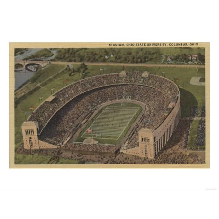 Columbus, Ohio - Ohio State University Stadium from Air Art Print  By Lantern Pr - Wigs Columbus Ohio