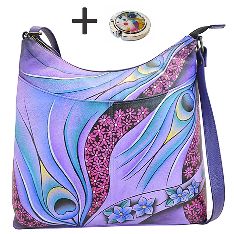 Anna By Anuschka Hobo Handbag Notebook Dreamy Peacock Dew...