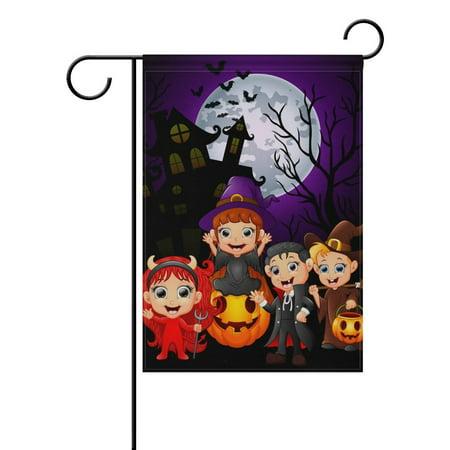 POPCreation Halloween Cartoons Polyester Garden Flag Outdoor Flag Home Party Garden Decor 28x40 inches