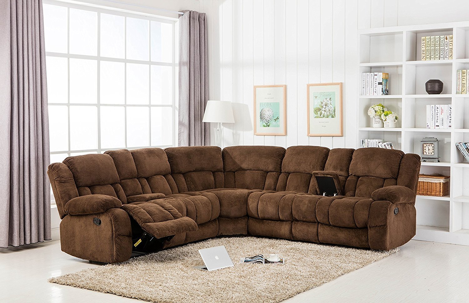 Classic Large Linen Fabric L Shape Sectional Recliner Sofa Couch