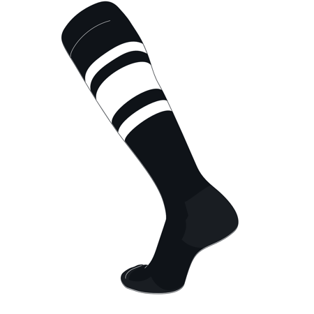 TCK Elite Baseball Football Knee High Striped Socks (C) Black, White White Football Baseball