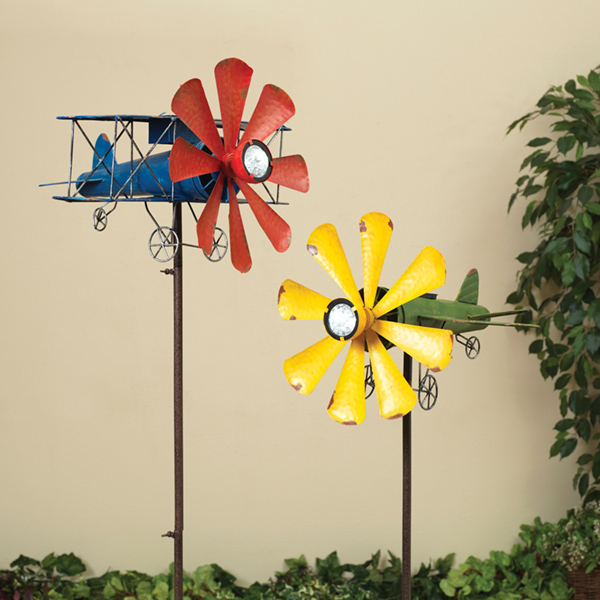 "63"" High Solar Lighted Metal Airplane Wind Spinners Set of 2 by Gerson Company"