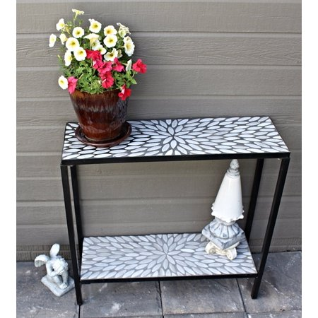 2 Tier Indoor/Outdoor Cement/Concrete Console Sofa Buffet Table with White Oval Mosaic Tiles ()