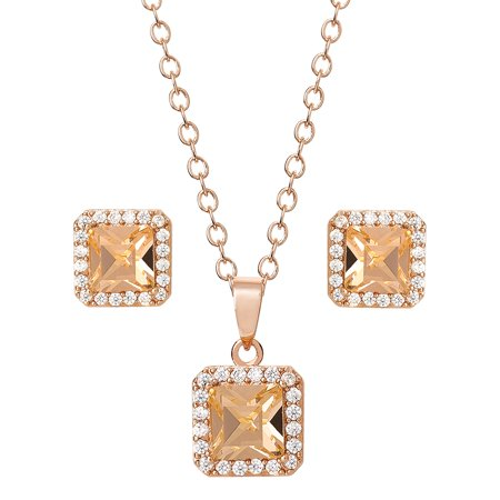 14KT GOLD FLASH PLATED PEACH CRYSTAL PD/EAR SET, 18