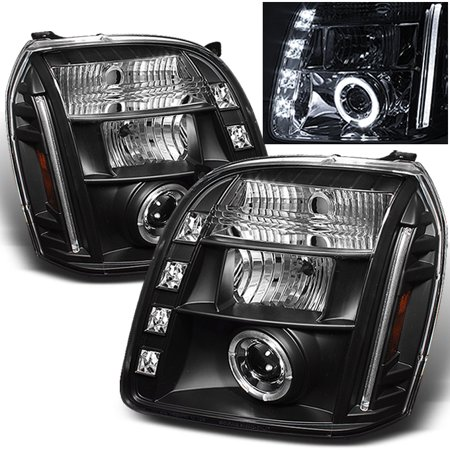 Fits 07-12 GMC Yukon Denali Black Halo Projector LED Headlights Lamps - Install Halo Projector Headlights