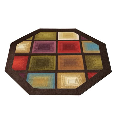 - Colorful Optic Squares Geometric Octagon Area Rug with Skid-resistant Backing, in Earth-tone Colors with Chocolate Border 54