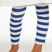 Little Girls White Royal Blue Stripes Pedal Pusher Leggings 2T-6