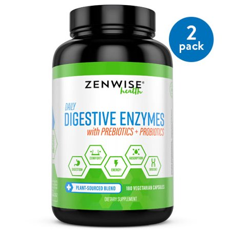 (2 Pack) Zenwise Health Digestive Enzymes with Prebiotics & Probiotics, 180 Ct