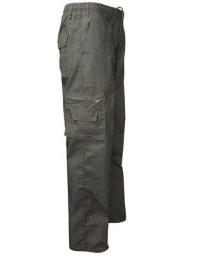 Julygoo Men's Solid Color Elastic Waist Casual Cargo Pants
