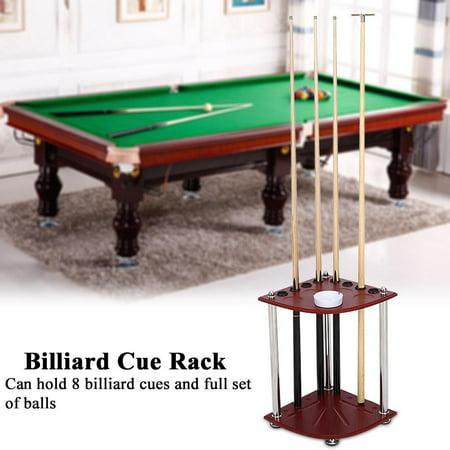 8 Pool Cue Rack Wood Billiard Sticks Balls Storage Floor