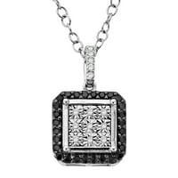 Finecraft 1/5ct Black& White Diamond Square Pendant Necklace