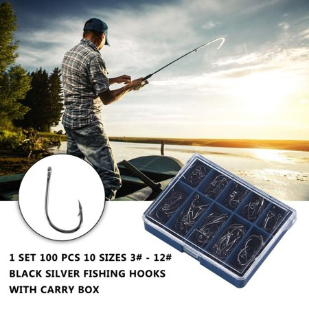1 Set 100 Pcs 10 Sizes 3# - 12# Black Silver Fishing Hooks With Carry Box - image 7 of 13