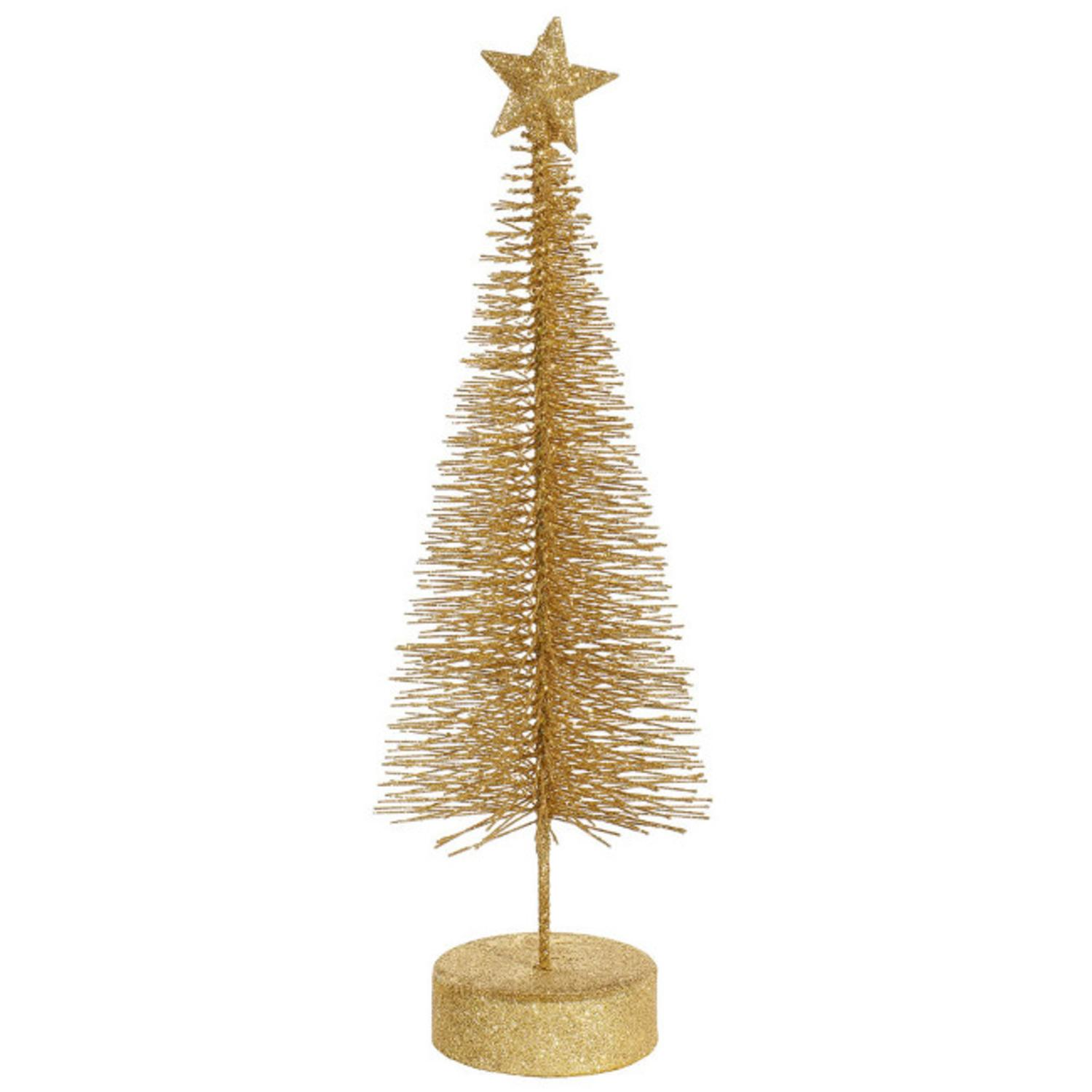 Pack of 2 Vegas Gold Glitter Sisal Artificial Table Top Christmas Trees 8""