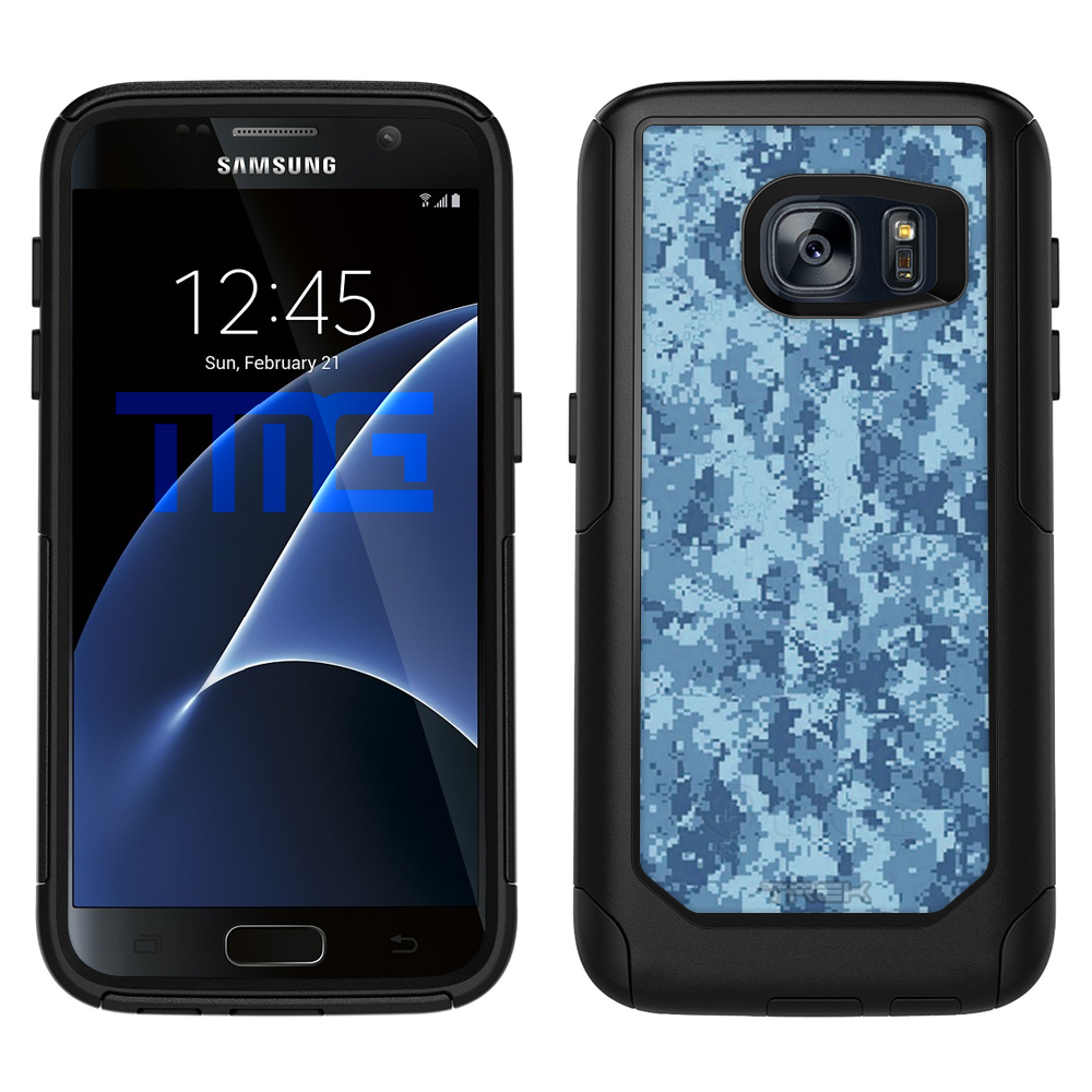 SKIN DECAL FOR OtterBox Commuter Samsung Galaxy S7 Case - Digital Camo Blue DECAL, NOT A CASE