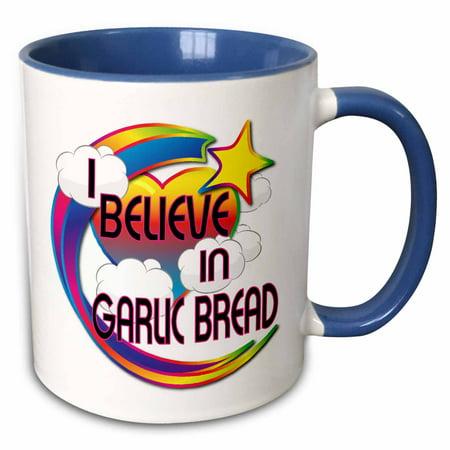 3dRose I Believe In Garlic Bread Cute Believer Design - Two Tone Blue Mug, 11-ounce
