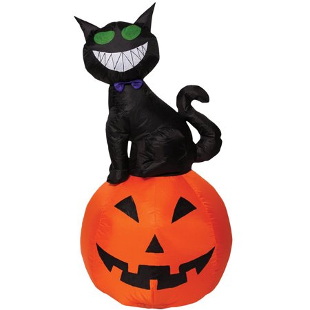4' Tall Cool Cat Sitting On A Pumpkin Inflatable Yard Prop Decoration - Printable Halloween Cat Coloring Pages