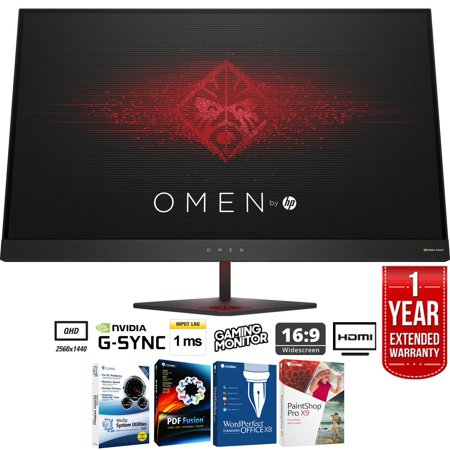 HP Omen 27� QHD (2560 x 1440) 165Hz 1ms NVIDIA G-SYNC Gaming Monitor + Elite Suite 17 Standard Software Bundle (Corel WordPerfect, Winzip, PDF Fusion,X9) + 1 Year Extended Warranty