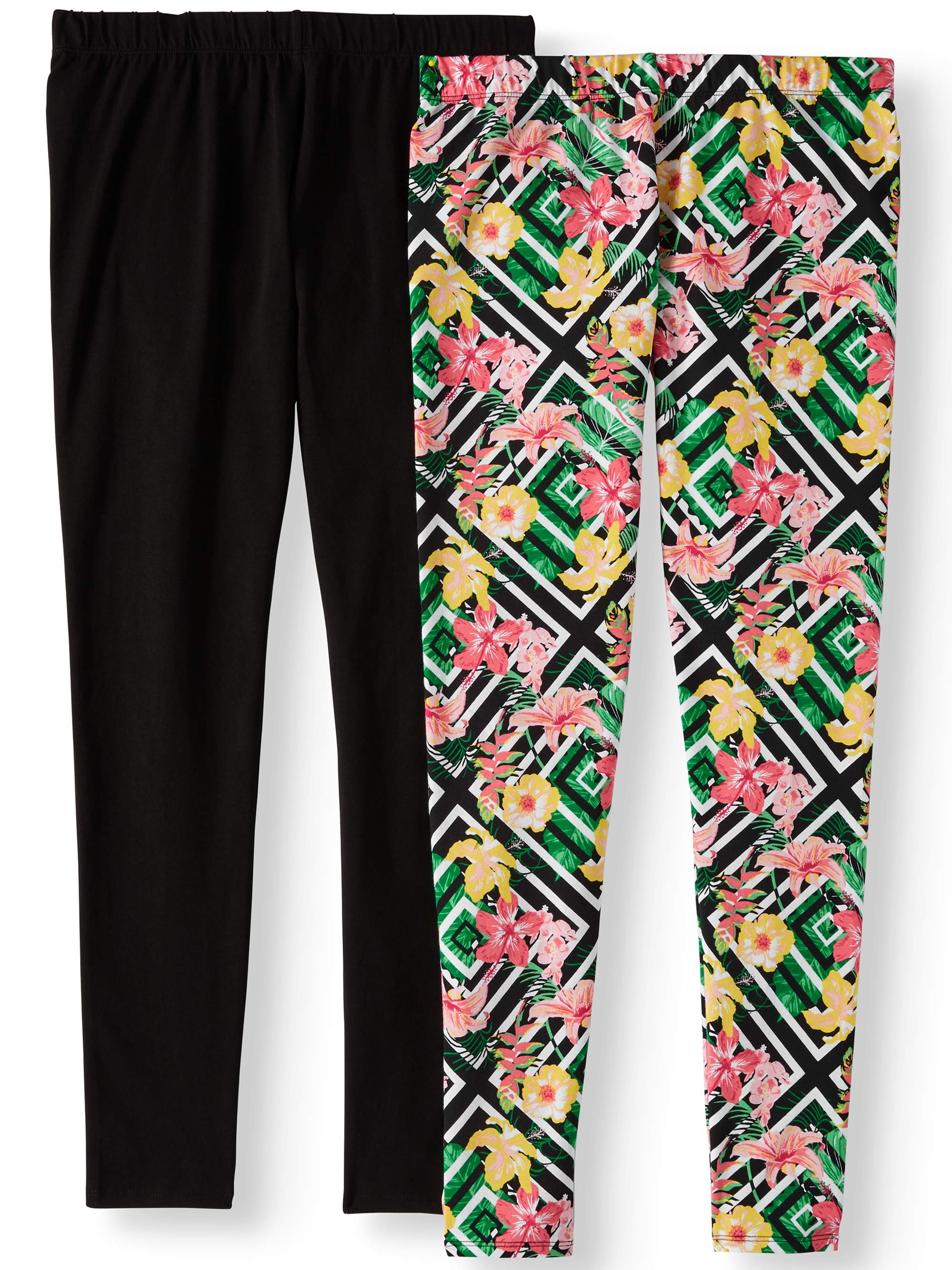 Juniors' Print & Solid Knit Ankle Legging 2 Pack Value Bundle