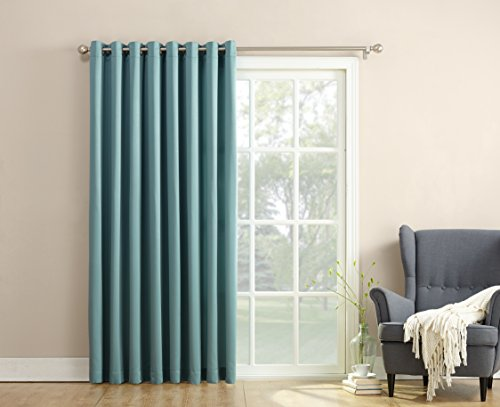 Sun Zero Barrow Energy Efficient Patio Door Curtain Panel Mineral