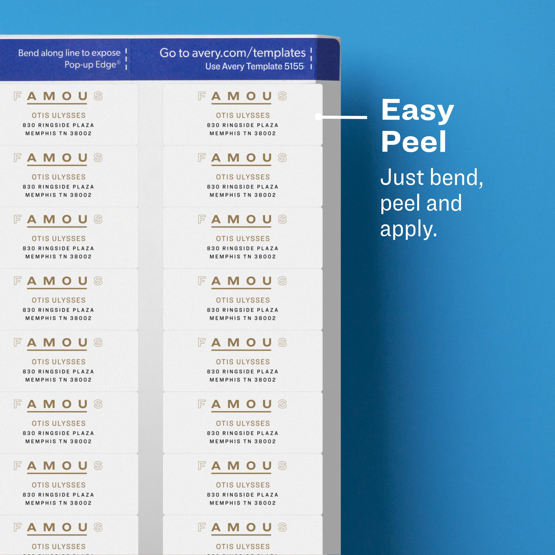 Avery Matte Clear Return Address Labels, Sure Feed Technology, Inkjet, 2/3