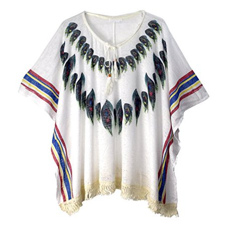 Peach Couture Womens Peacock Light Weight Summer Poncho Cardigan Cover up White - image 1 of 1