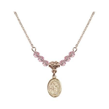 18-Inch Hamilton Gold Plated Necklace w/ 4mm Light Rose Pink October Birth Month Stone Beads & Saint Gabriel the Archangel