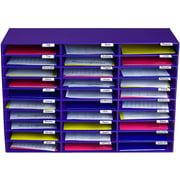 AdirOffice 30-Slot Classroom Paper Literature Organizer File Sorter, Purple