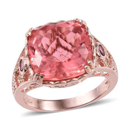 Promise Ring 925 Sterling Silver Vermeil Rose Gold Triplet Coral Quartz Pink Tourmaline Jewelry for Women