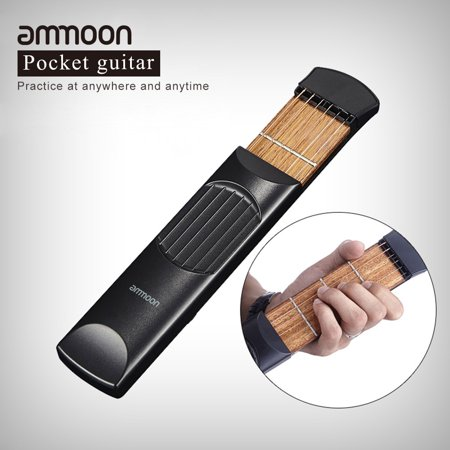 ammoon Portable Pocket Acoustic Guitar Practice Tool Gadget Chord Trainer 6 String 4 Fret Model for Beginner - Ez Guitar Chords