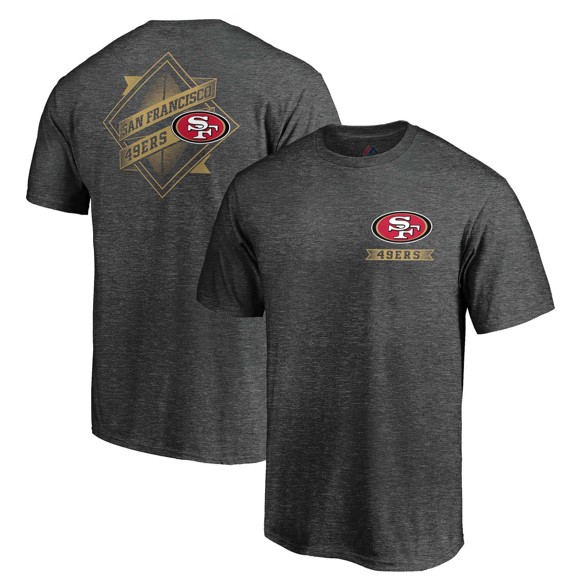 San Francisco 49ers Majestic Iconic Diamond Scroll T-Shirt - Heathered Charcoal