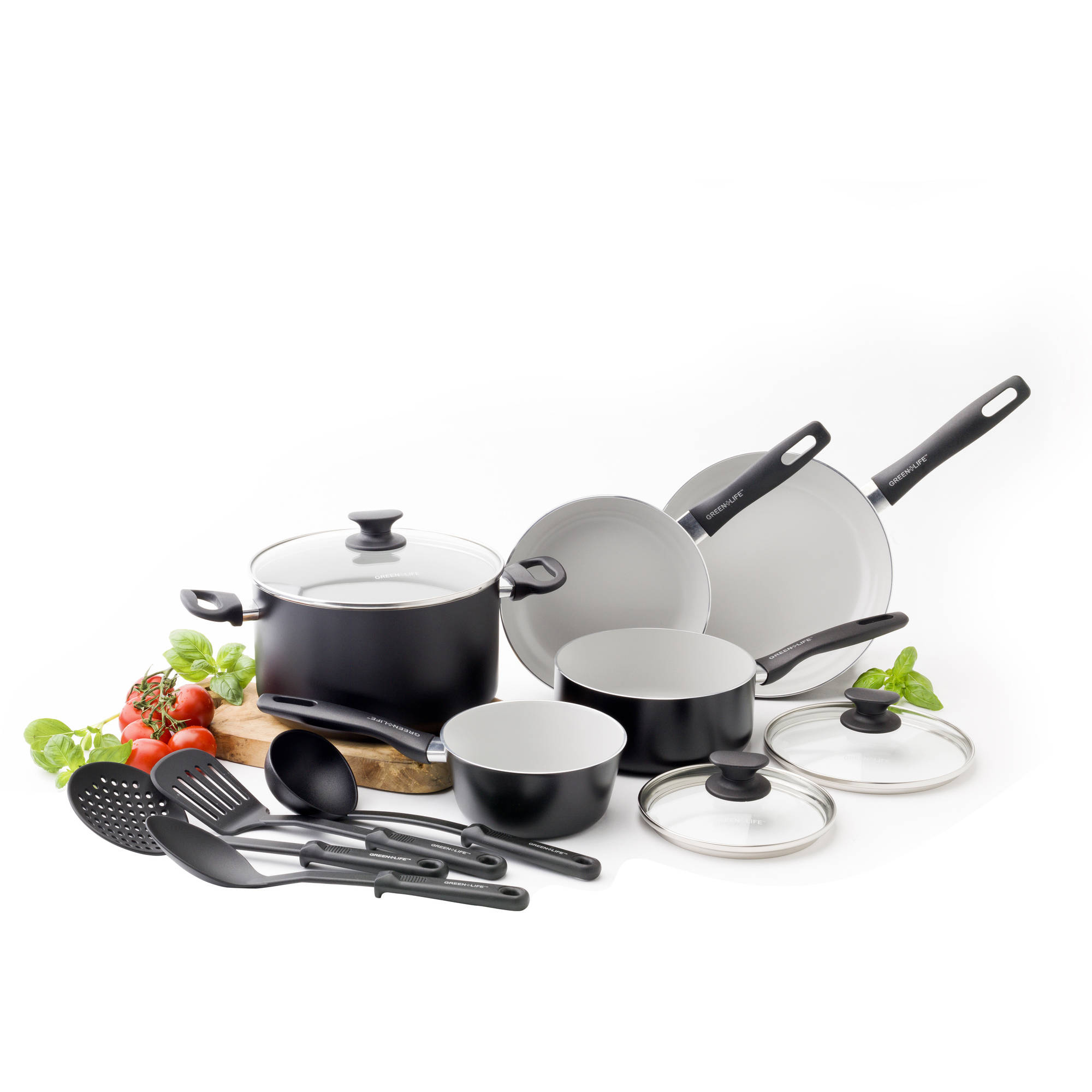 GreenLife Everyday Value Healthy Ceramic Non-Stick 12 Piece Cookware Set, Black