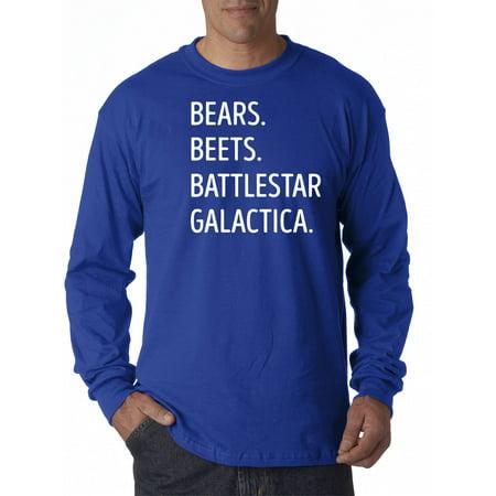 New Way 873 - Unisex Long-Sleeve T-Shirt Bears Beets Battlestar Galactica Office Jim 2XL Royal