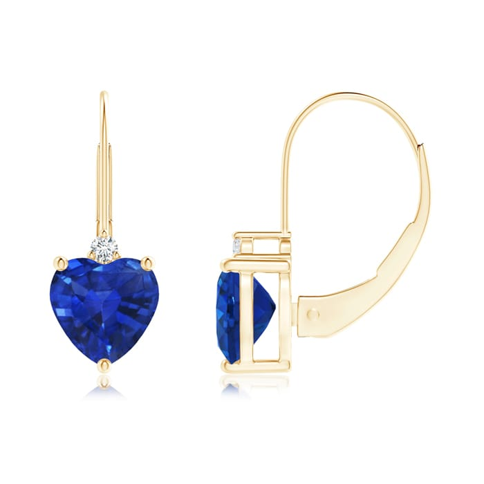 Angara Solitaire Heart Sapphire Leverback Earrings with Diamond in White Gold kLmGiEm0