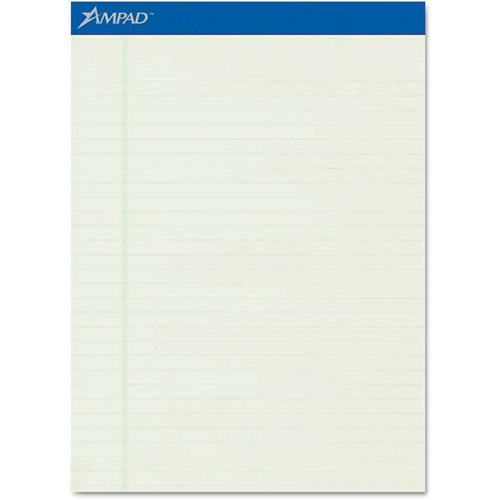 Ampad Pastel Pads, Legal/Wide Rule, Letter, Green Tint, Micro-Perfed, 50-Sheets, 12-Pack