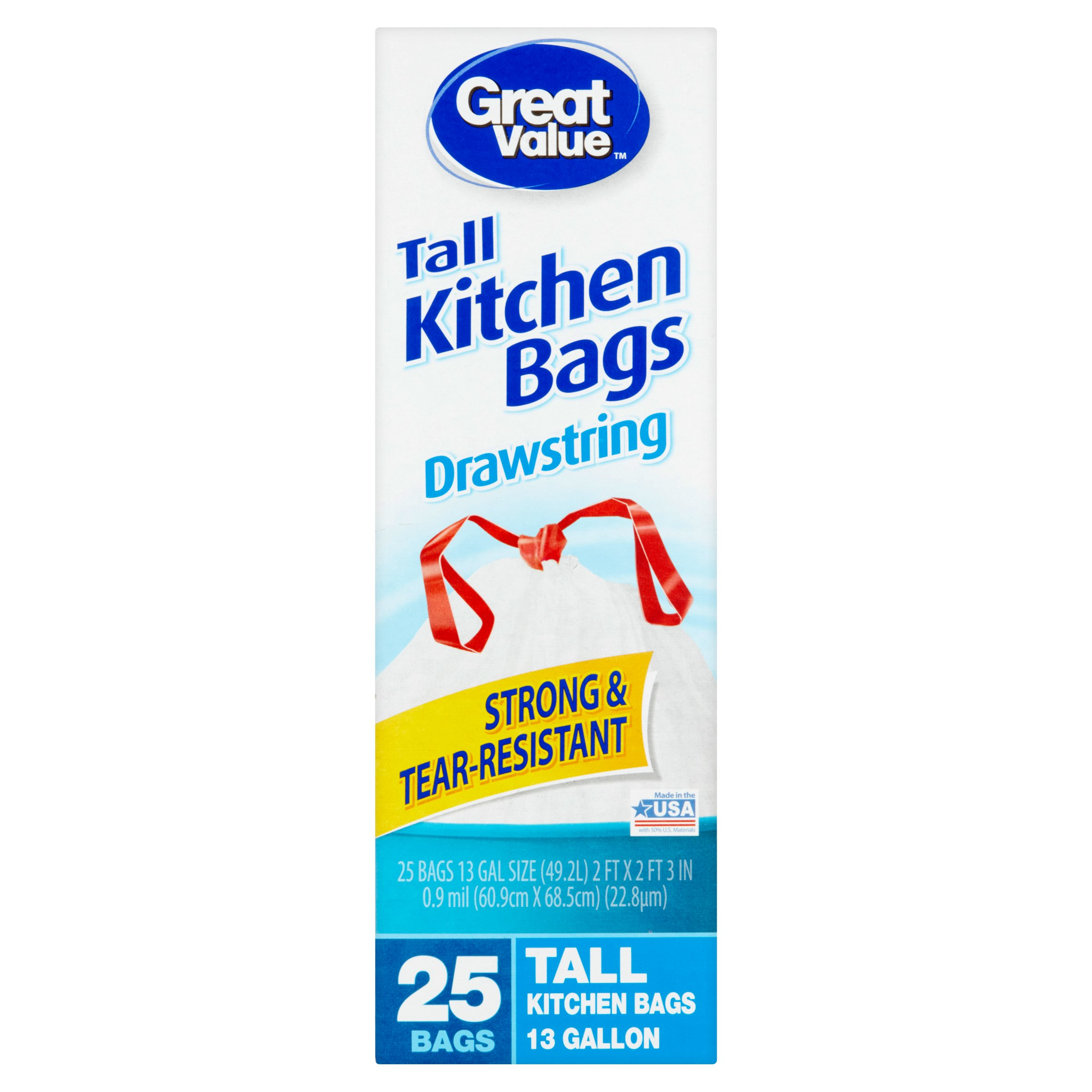 Great Value Drawstring 13 Gallon Tall Kitchen Bags, 25 count ...
