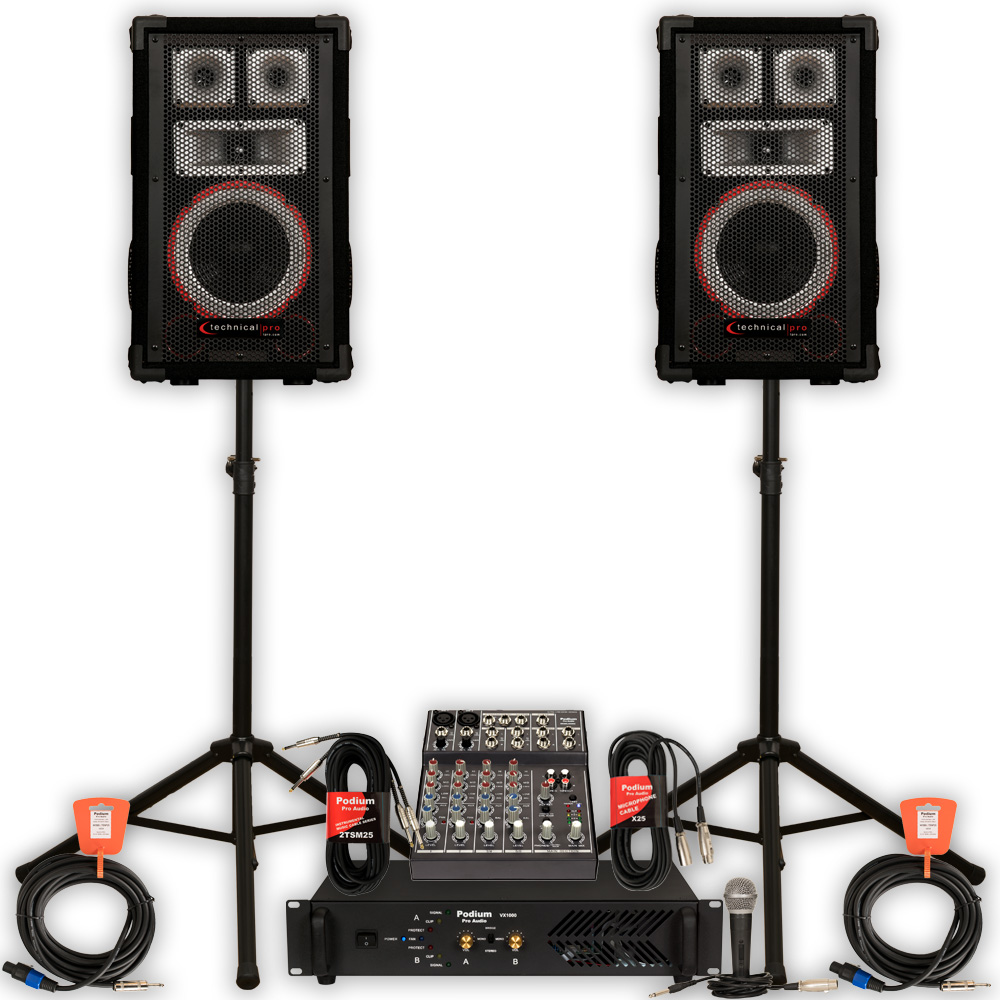 TECHNICAL PRO VMPR8 Speakers Amp Mixer Mic Stands and Cab...