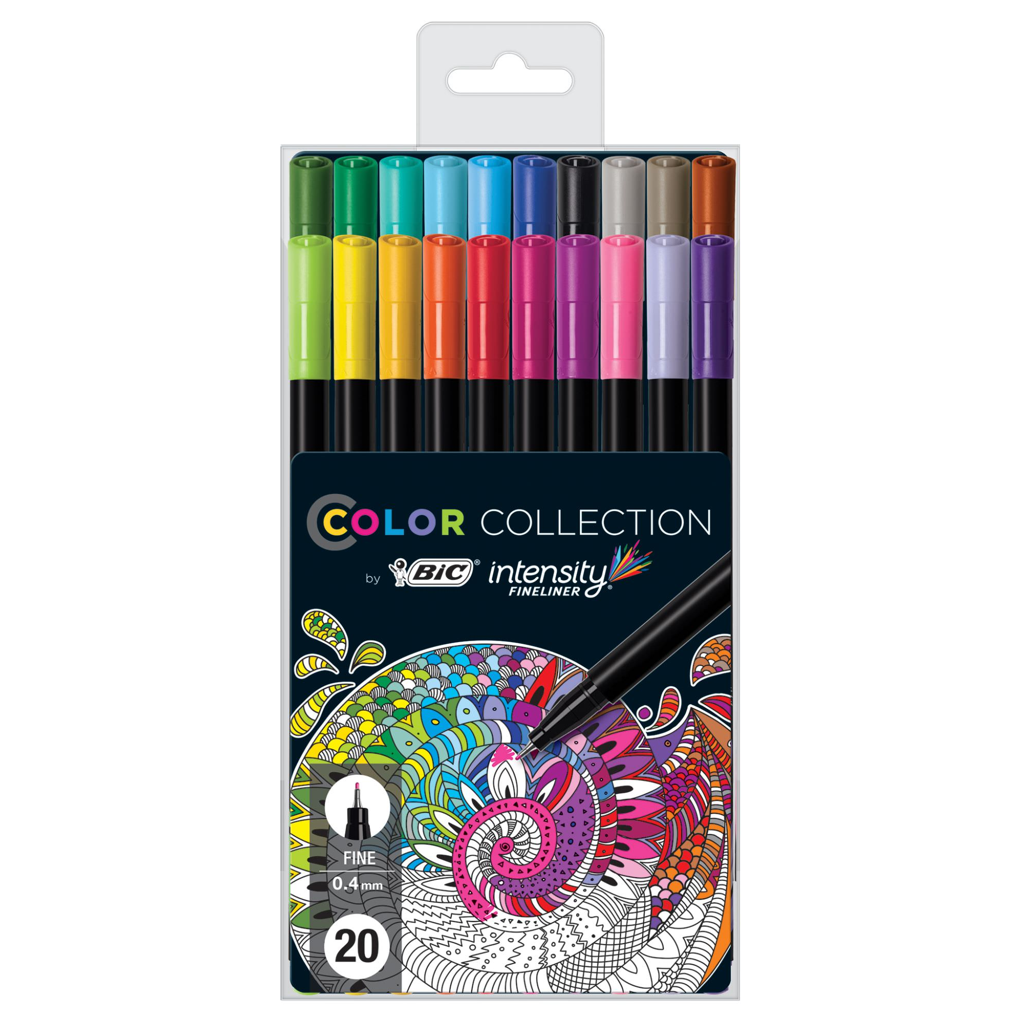 BIC Color Collection by Intensity Fineliner Pen, Assorted Colors, 20 Count