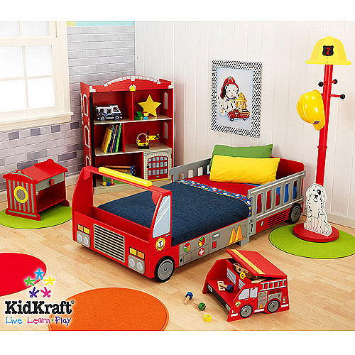 KidKraft - Fire Truck Toddler Bedroom Collection Value Bundle