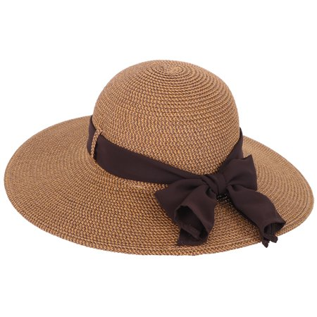 Simplicity Women Wide Brim Flower Ribbon Gardening Beach Sun Straw Hat Brown07