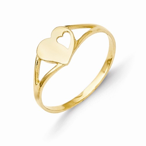 14k Yellow Gold Heart Baby Ring w/ Gift Box.