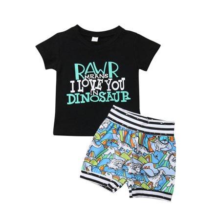 Summer 2Pcs Toddler Kids Baby Boys Cute Short Sleeve T-shirt Top+Dinosaur Shorts Pants Outfits Clothes Set - Cute Children Outfits