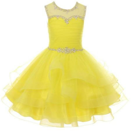 Little Girl Gorgeous Beaded Rhinestones Pageant Gown Party Flower Girl Dress Yellow 4 CC 5050 BNY Corner - Gorgeous Girls Dresses