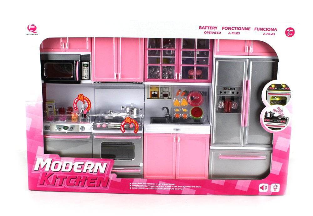 Deluxe Modern Kitchen Battery Operated Toy Playset Perfect For Use With 11 5 Tall Dolls