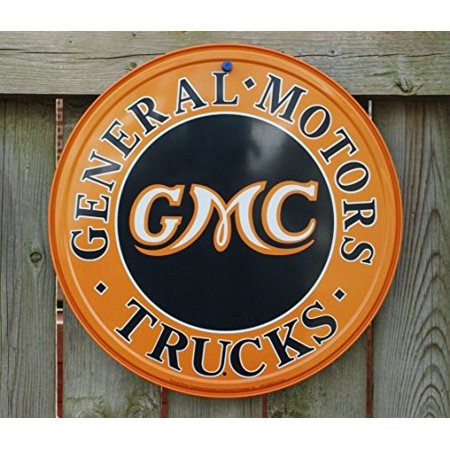 GMC Trucks Round Metal Sign , 12x12 by Poster Discount