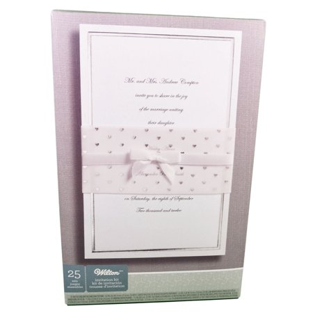 Wedding Invitation Kit Silver Heart Wrap 25 Count 1008 1611 Walmart