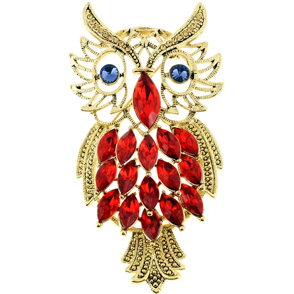Orange Golden Owl Crystal Pin Brooch by