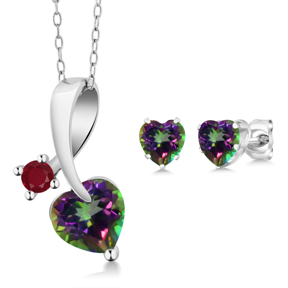 2.64 Ct Heart Shape Green Mystic Topaz 925 Sterling Silver Pendant Earrings Set by
