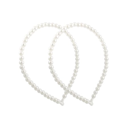 (2 Pcs Plastic Pearls Linked Metal Frame Headband Hair Band White for Girls)