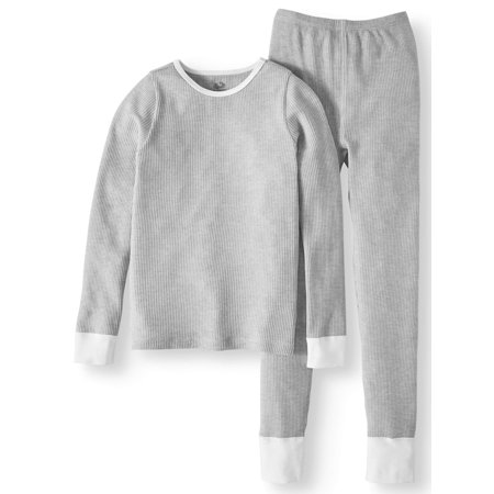 Girls Soft Waffle Thermal Underwear Set